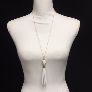 Jewelry - White gold tassel necklace new